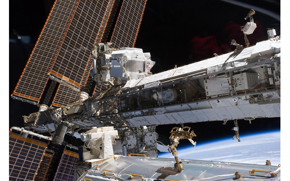 AMS on ISS solar Panels extended
